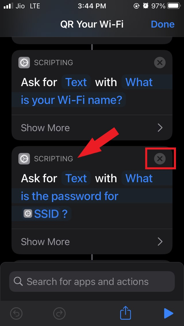 remove the scripting section of shortcut
