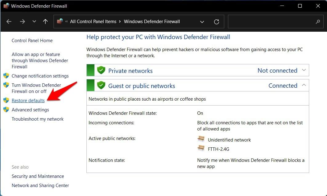 reset firewall in windows 11