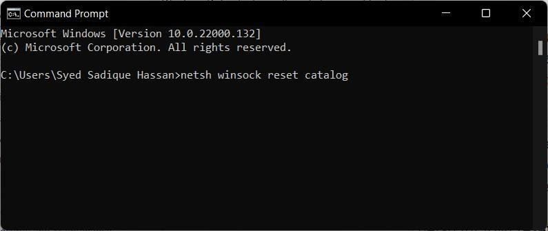 reset network catalog in windows 11