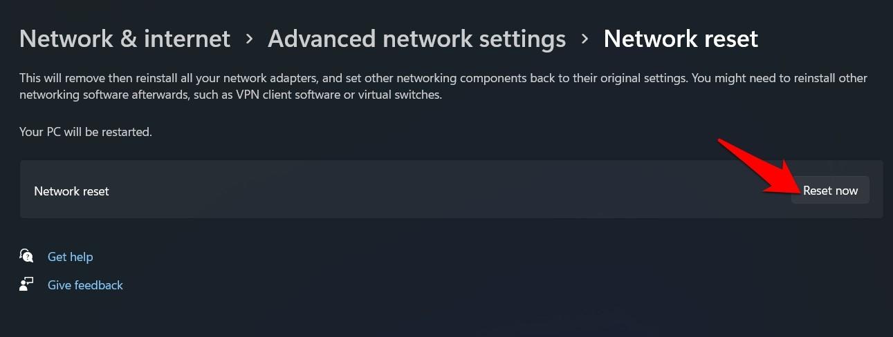 reset network windows 11