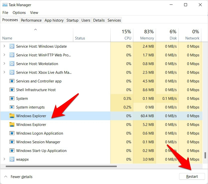 restart windows 11 taskbar using task manager
