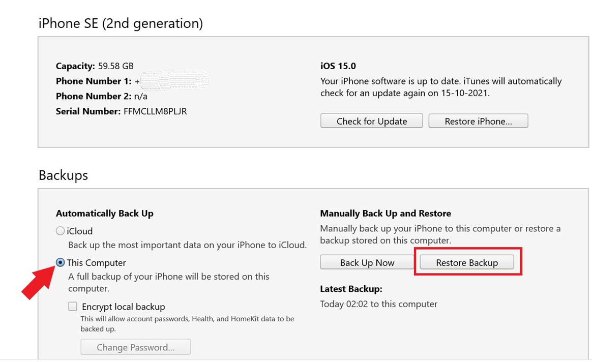 restore backup from iTunes to fix iPhone is shutting down