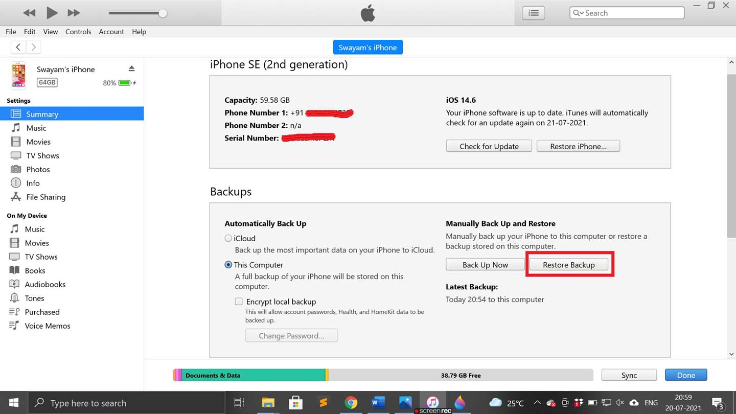 restore the local backup using iTunes