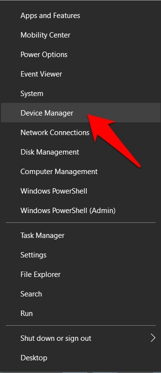 right-click on the Start menu and select Device Manager