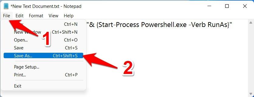 save as option powershell batch file