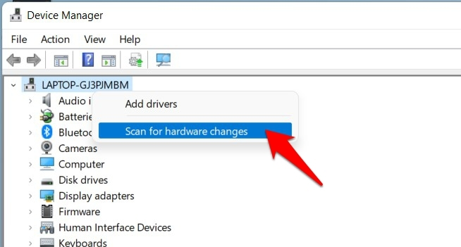 scan for hardware changes windows 11