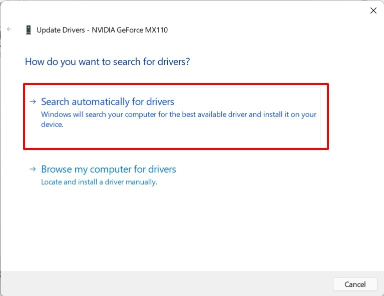 search automatically for graphics drivers windows 11