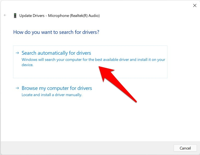 search automatically for microphone drivers in windows 11