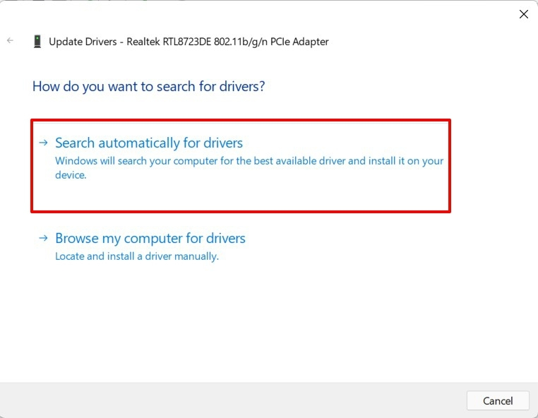 search automatically for network drivers windows 11