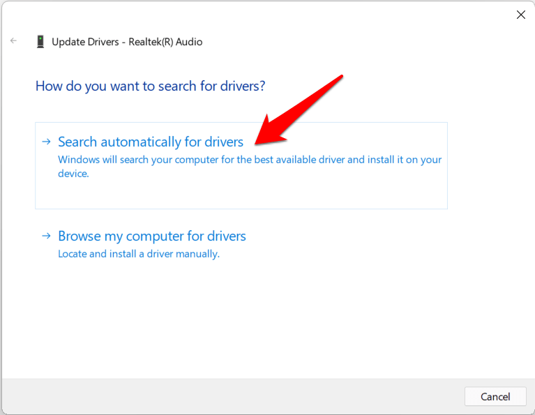 search automatically for realtek audio drivers windows 11