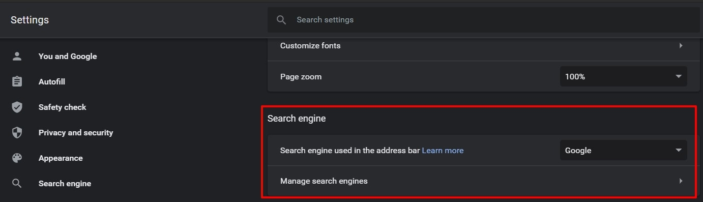 search engine in chrome browser