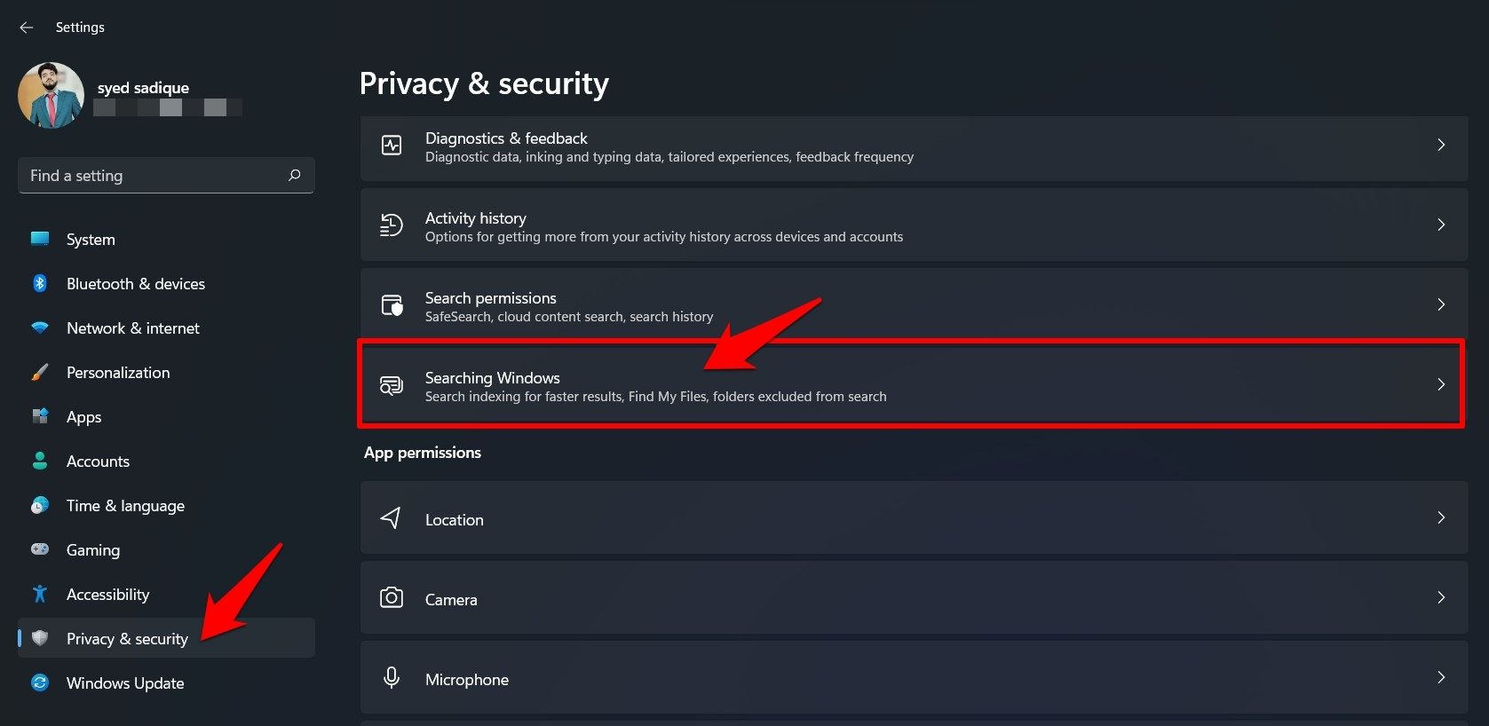 searching windows option in privacy and security