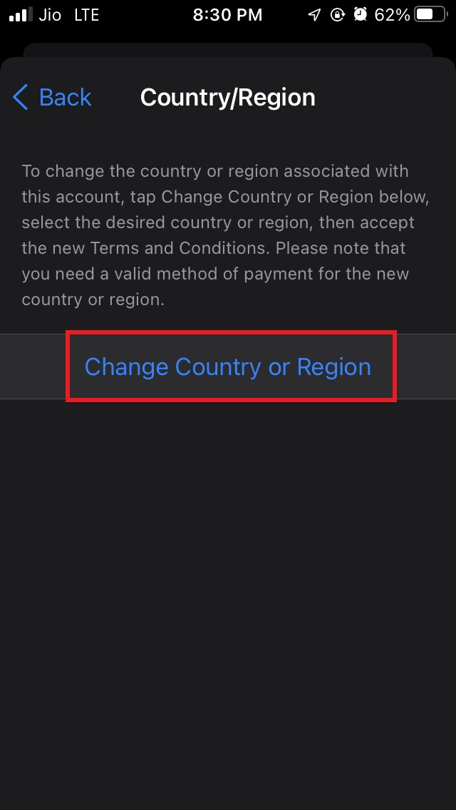select-change country or region