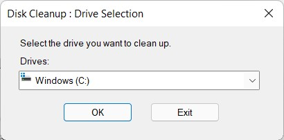 select disk cleanup drive in windows 11