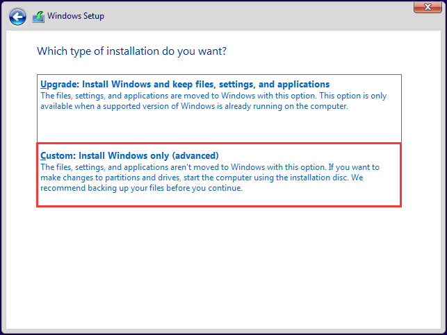 select the Custom Install Windows only