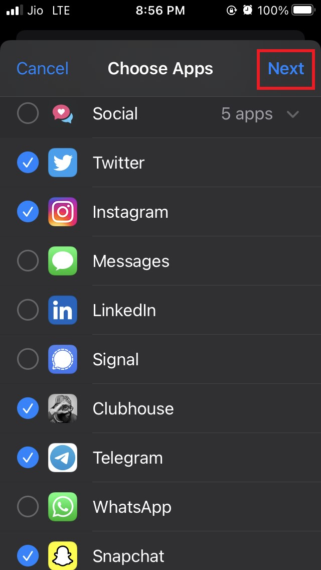 select the apps
