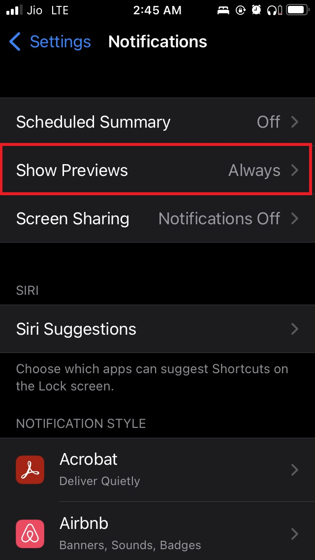set Show Notification Preview to Always