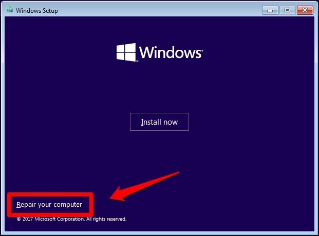 start Windows Installation