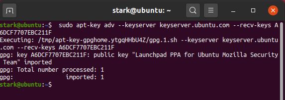 $ sudo apt-key adv – keyserver keyserver.ubuntu.com – recv-keys A6DCF7707EBC211F