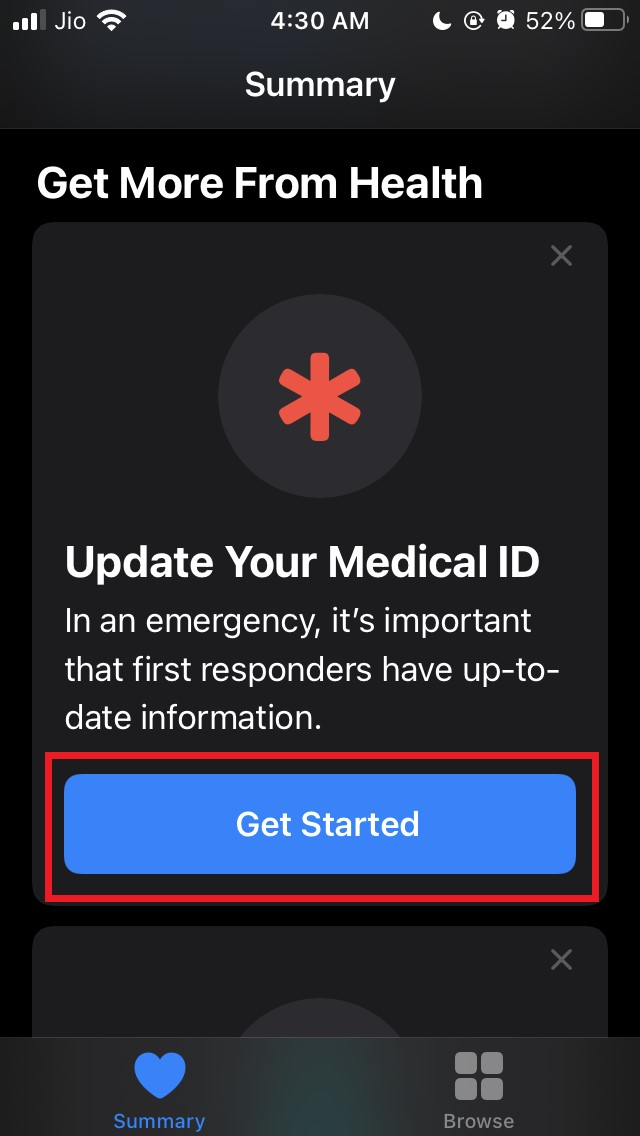 tap-get-started to set up medical ID