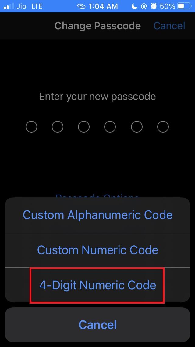 tap on 4 digit numeric code