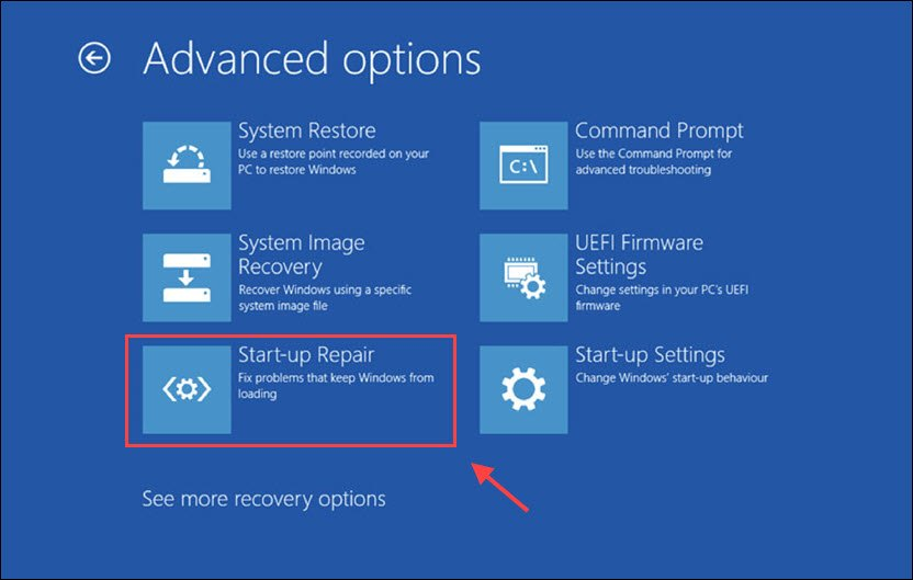 tap on Advanced Option, and finally, tap on the Startup Repair option
