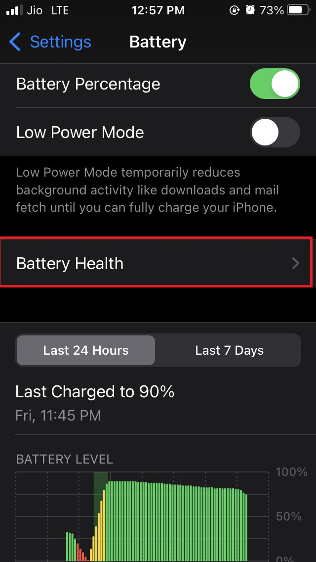 tap on Battery health