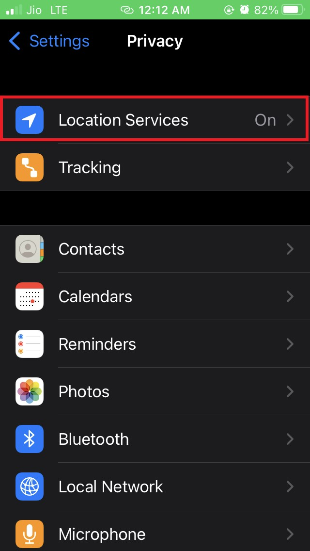 tap on Location Services