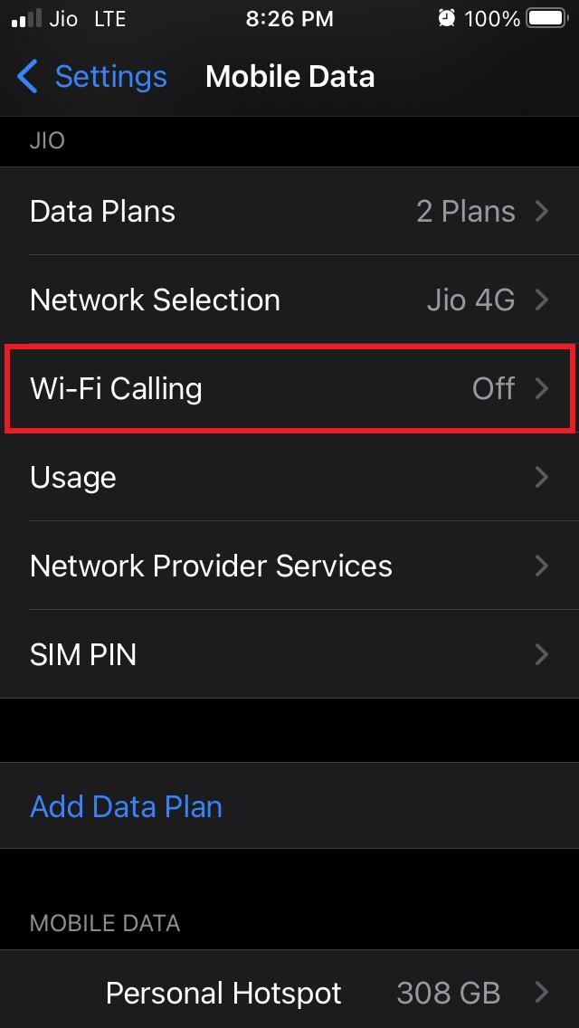 tap on WiFi calling