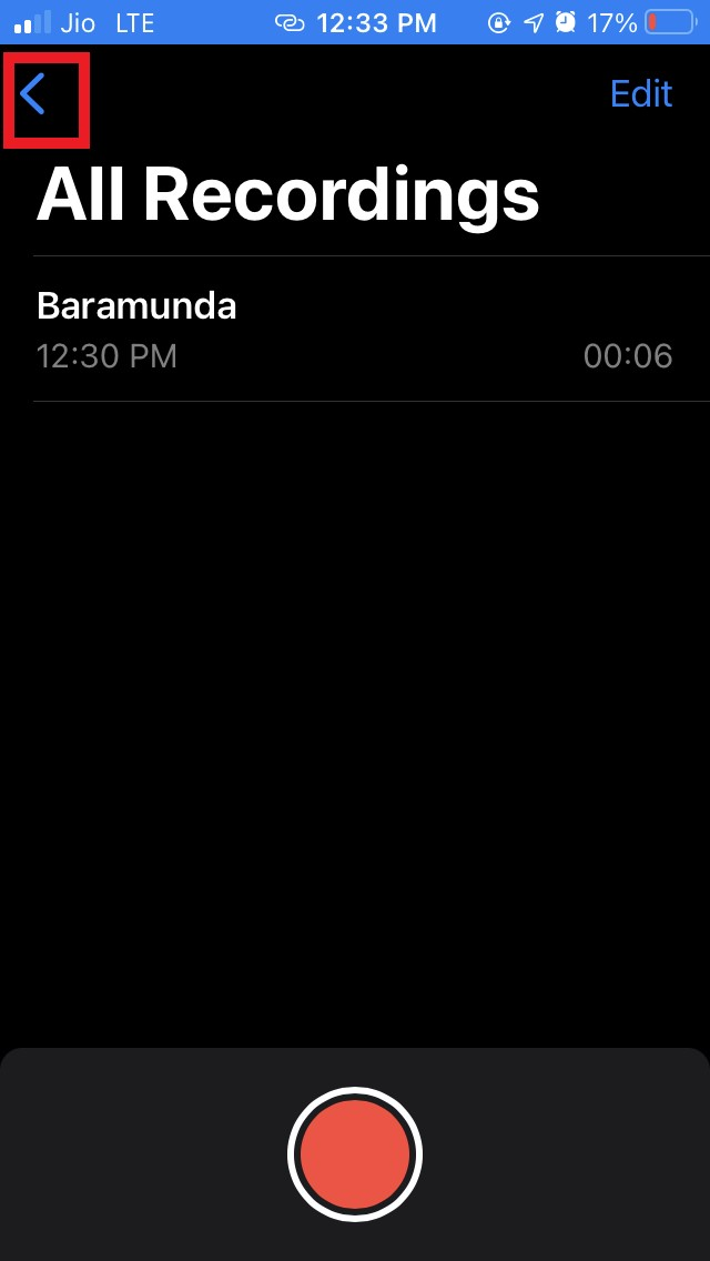 tap on the left arrow to find voice memo recordings