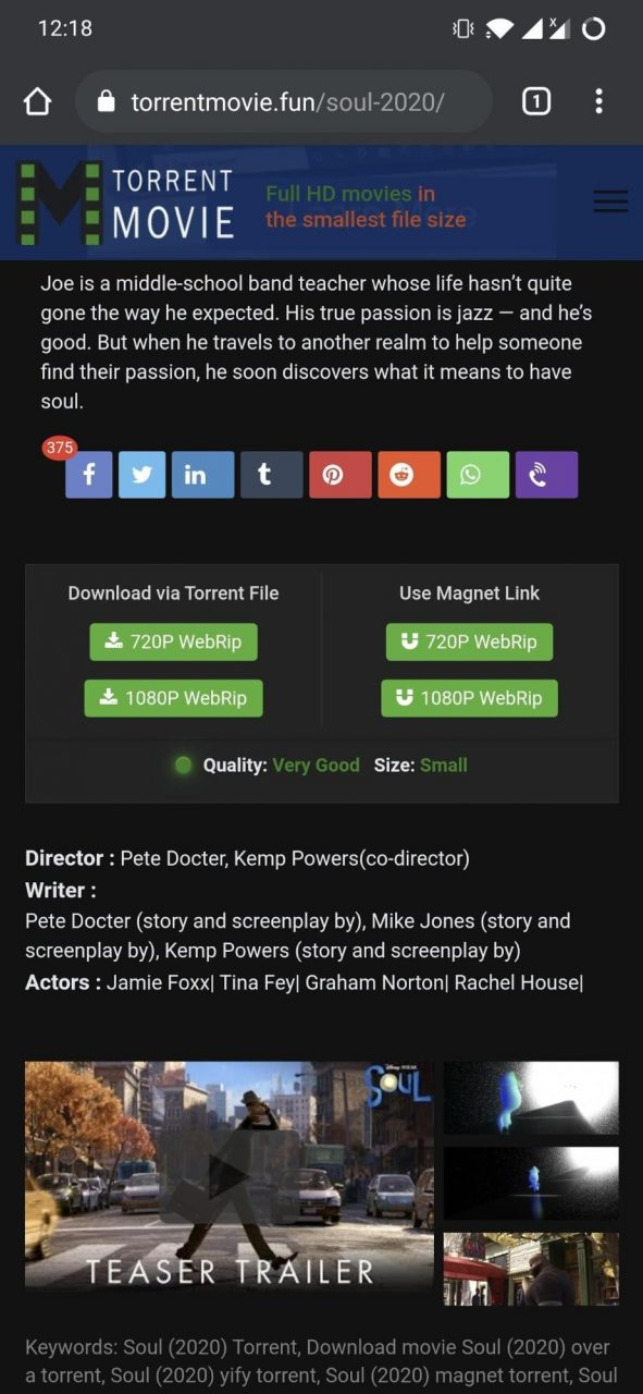 tap on the magnet link of the movie and grab the magnet link by long-pressing the downloading button