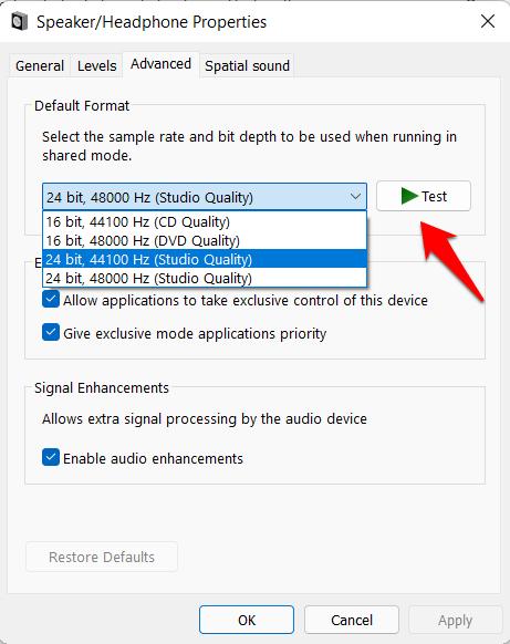 test audio bit rates windows 11