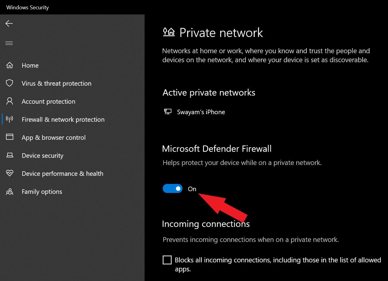 turn off microsoft defender firewall