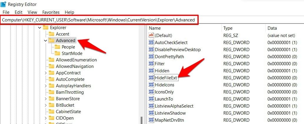 unhide file extension via registry editor windows 11
