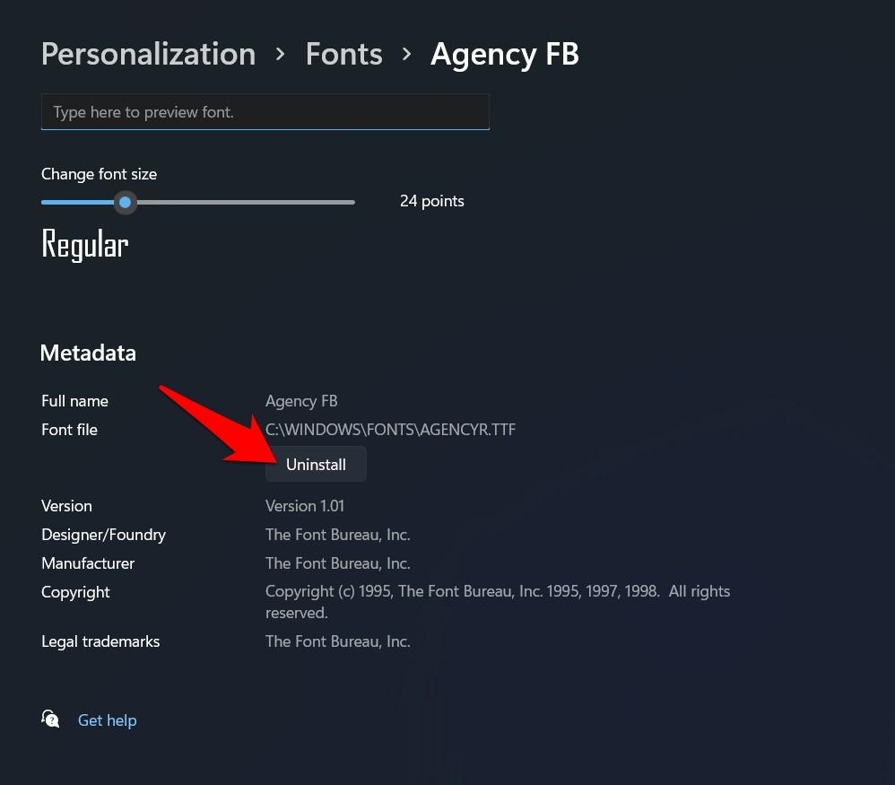 uninstall fonts in windows 11 via settings
