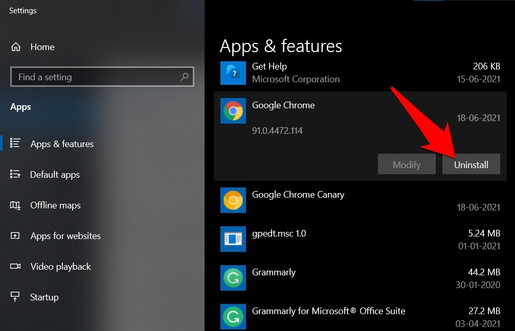 uninstall google chrome browser from windows 10