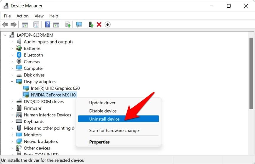 uninstall graphics drivers windows 11