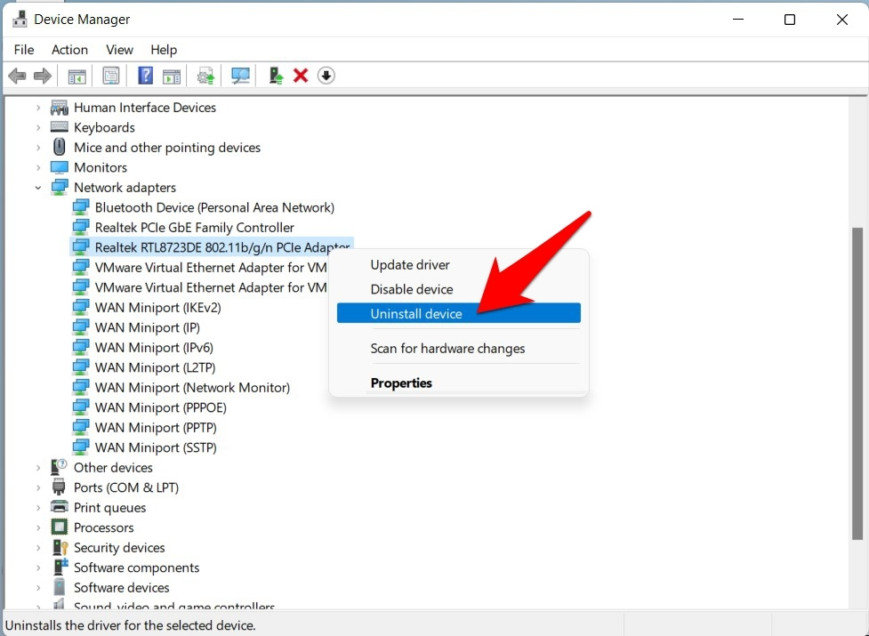 uninstall network adapters windows 11