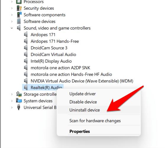 uninstall realtek audio drivers windows 11