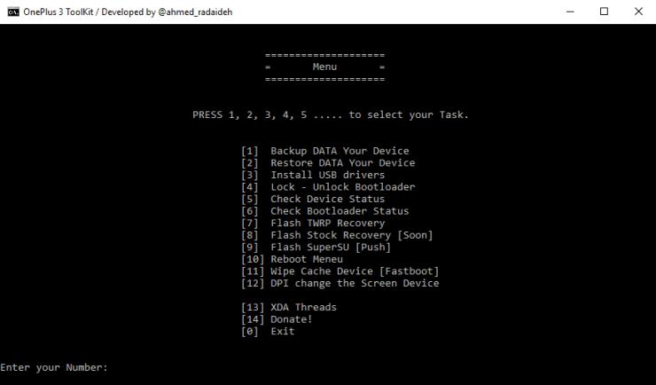 unlock bootloader, flash TWRP, Root, backup etc. ToolKit OnePlus 3