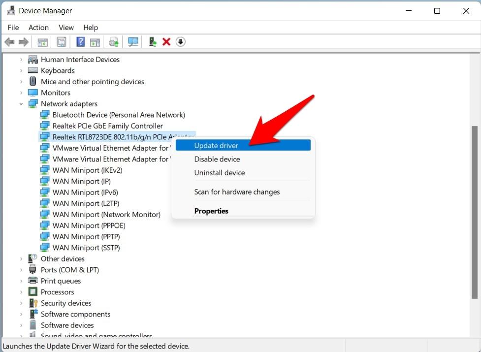 update network drivers windows 11