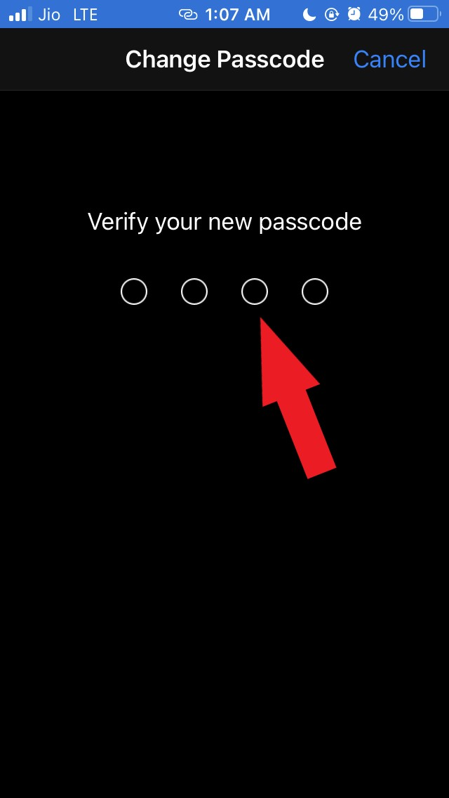 verify new four-digit passcode