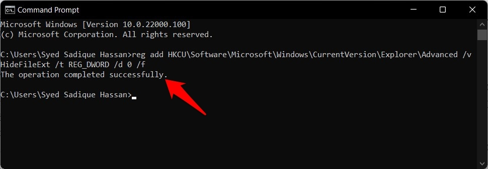 view file extensions in windows 11 via command prompt