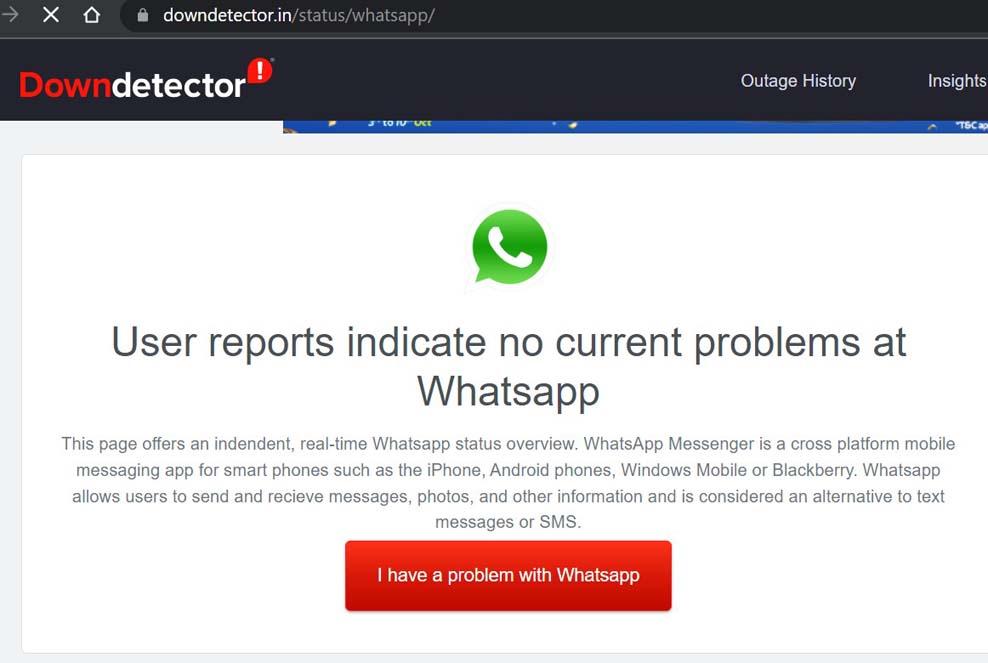 whatsapp downdetector status