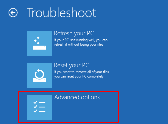 windows 11 advanced option