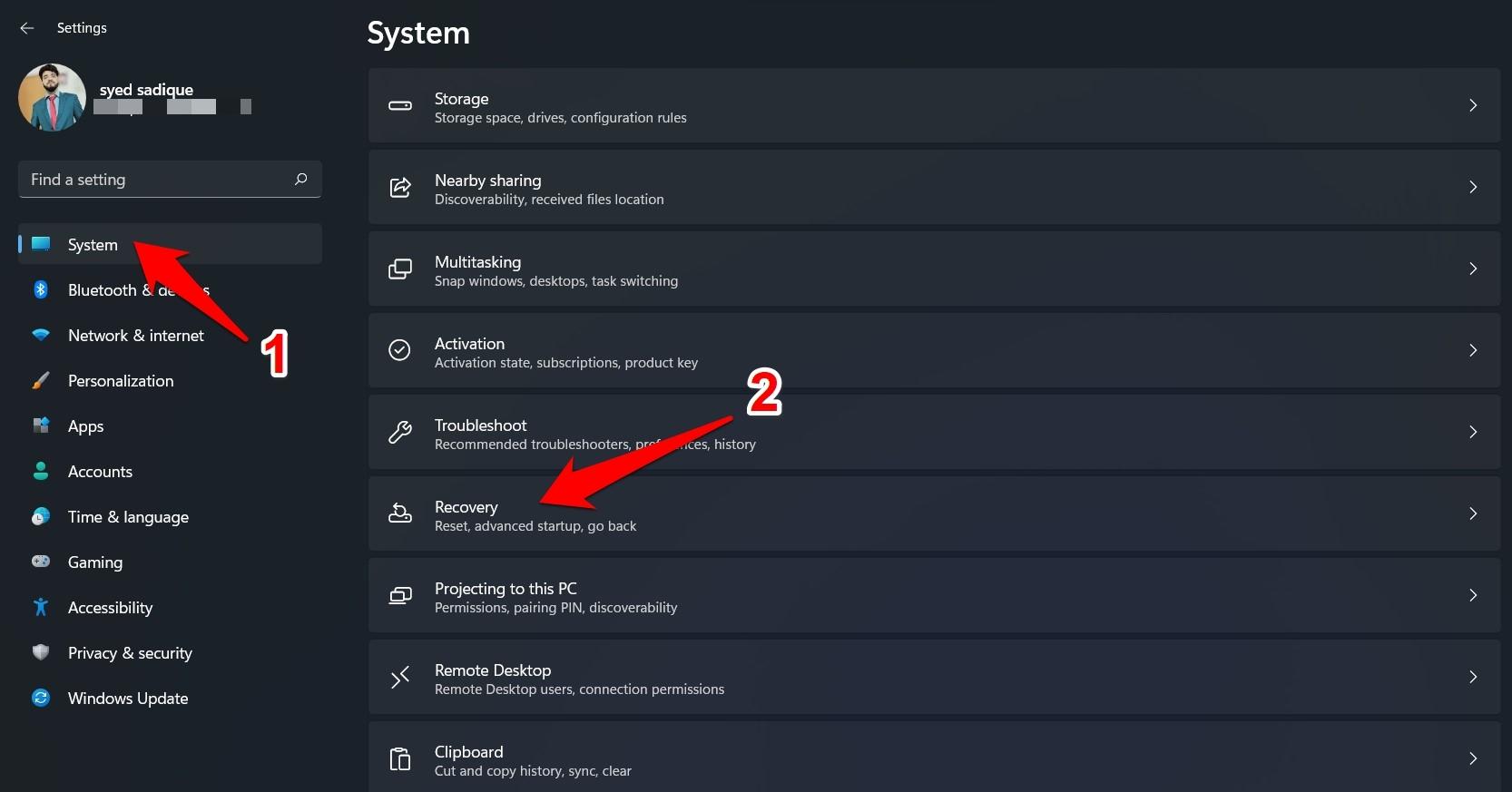 windows 11 recovery menu