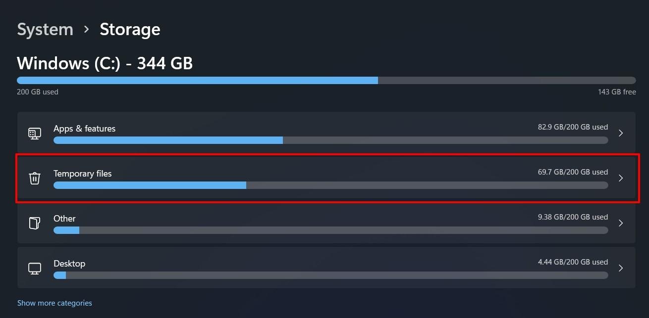 windows 11 storage menu